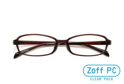 【Zoff PCクリアレンズ・パック】パソコン用メガネ PCメガネ オーソドックスなスクエア(度なし)(Shiny Brown)