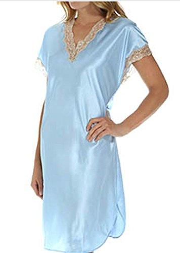 Shadowline Charmeuse Sleep Gown (4503), Blue, Medium