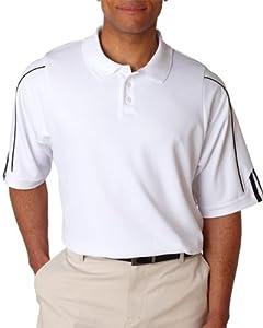 Adidas Men's ClimaLite 3 Stripes Cuff Polo Shirt, Medium, WHITE/BLACK