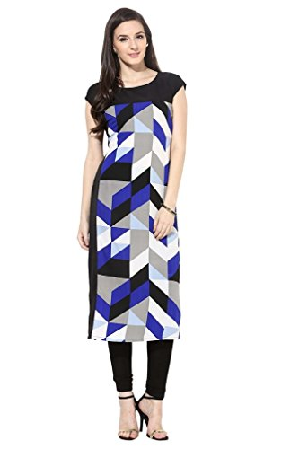 ZIYAA-A-Line-Multi-Half-Round-Neck-Printed-Art-Crepe-Regular-Fit-Kurtis-For-Women