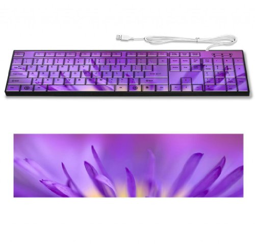 Delicate Purple Petals Flower Macro Shot Keyboard Customized Made To Order Support Ready 16 7/8 Inch (430Mm) X 4 7/8 Inch (125Mm) X 15/16 Inch (25Mm) High Quality Liil Key Board Boards Desktop Laptop Key_Board Comfortable Computer Accessories Cute Gaming