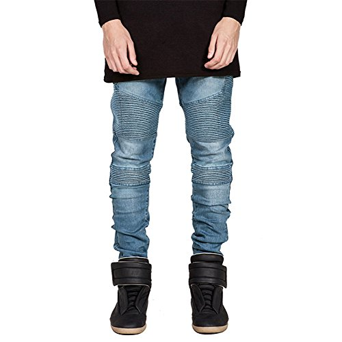 Prettygood Men's Straight Slim Fit Biker Jeans Pants Skinny Denim Trousers Blue 36