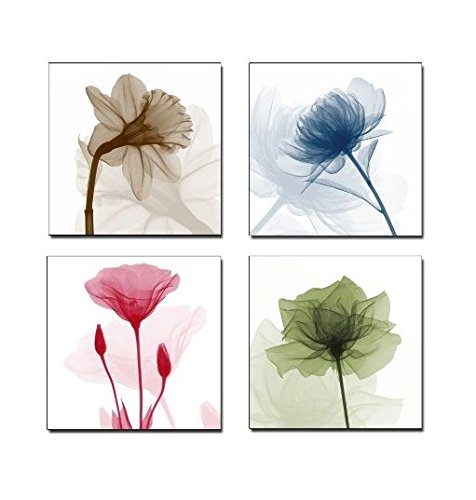 Home Art Contemporary Art Flower Giclee Canvas Prints Framed Canvas Wall Art For Home Decor 4 panels Wall Decorations For Living Room Bedroom Office Each Panel Size:12x12 inch (Home Framed Art compare prices)