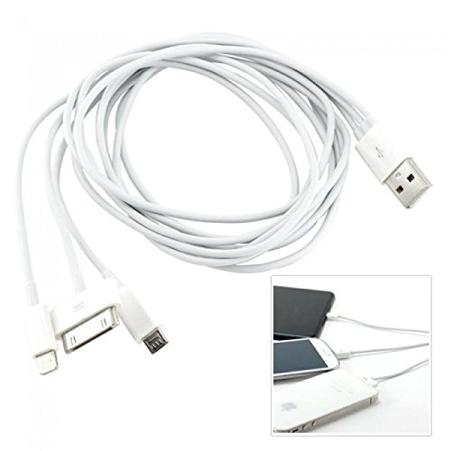 Apple iPhone 3GS 16GB (Airt... 3 and other Devices Compatible and Certified FAST Charging 3 in 1 Charging Cable( V8 pin(Micro usb), 8-pin ( Lightning Connector ), 30-pin Connector)