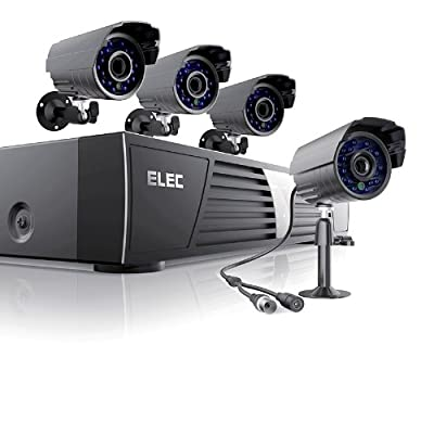 Elec® New 4 Channel 960h Hdmi Cctv H.264 Real-time DVR + 4 Outdoor 700tvl Security Surveillance Camera - 3g Mobile 500gb Hard Drive Pre-installed ?Mobile e-cloud viewing?Multi-channel Playback, Email Alert?Motion Detection?