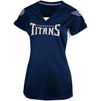 NFL Ladies Tennessee Titans Draft Me V Athletic Navy Wht Coastal Blue Short Sleeve... by VF LSG