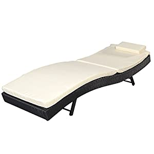 Giantex Adjustable Pool Chaise Lounge Chair Outdoor Patio Furniture Pe Wicker W/cushion by Giantex