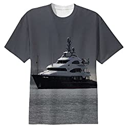 Snoogg White Boat In Water Mens Casual All Over Printed T Shirts Tees