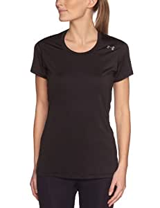 Under Armour Sonic T-Shirt manches courtes à col rond Femme Black/Metallic Silver FR : L (Taille Fabricant : LG)