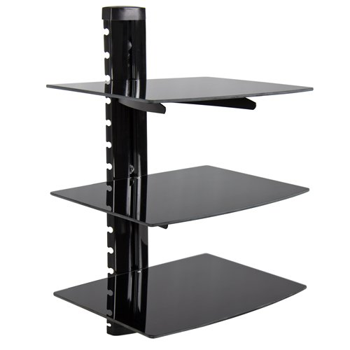 Best Choice Products® 3 Tier Dual Glass Shelf Wall Mount Bracket Under Tv Component Cable Box DVR DVD