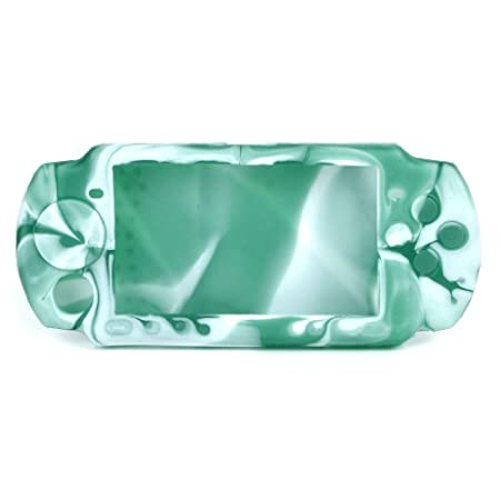 Silicone Protective Case for PSP 3000/2000 - Green + White