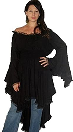 Lotustraders Blouse Top Peasant Lace Ruffled Black One Size S565
