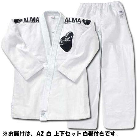 ALMA ( Alma ) overseas made by JIU-Jitsu wear A2 white top and bottom set white belt with JU2-A2-WH