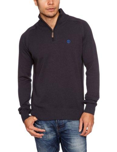 Timberland Cotton Half Zipped Men's Jumper Dark Navy Medium