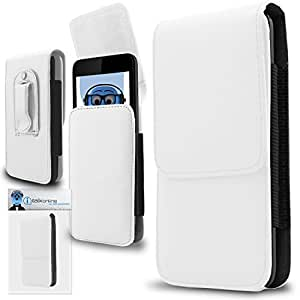iTALKonline Alcatel One Touch 915 White PREMIUM PU Leather Vertical Executive Side Pouch Case Cover Holster with Belt Loop Clip and Magnetic Closure