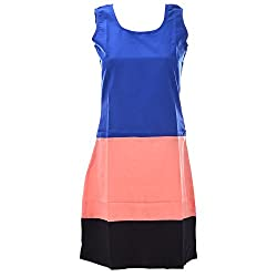 Xniva Crepe Coral Black Blue Party Wear Dress For Women_S
