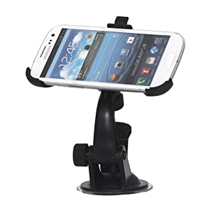 Worldshopping Adjustable Windshield Windscreen Air Suction Car Mount Holder Cradle For Samsung Galaxy S3 i9300 + Free Accessory
