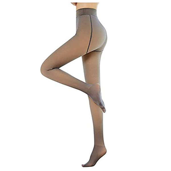 Perfect Slimming Legs Fake Translucent Warm Fleece Pantyhose Black,85g Womens Warm Fleece Lined Tights Thermal Winter Tights