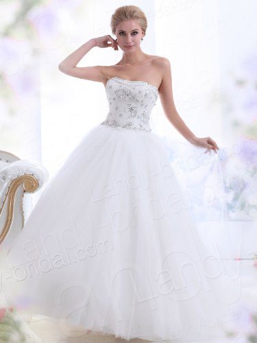 Landybridal 2013 New Style Ball Gown Strapless Chapel Train Tulle Ivory Wedding Dress B12142