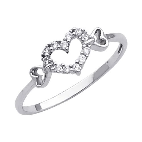 14K White Gold High Poliosh Finish Heart Solitaire Round-cut Top Quality Shines CZ Cubic Zirconia Ladies Promise Ring Band - Size 9