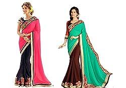 Pragya creations Women's Chiffon Saree (Prag34_Multi)-pack of 2