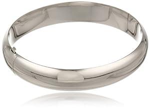 Sterling Silver Wide Polished Guard and Hinge Bangle Bracelet