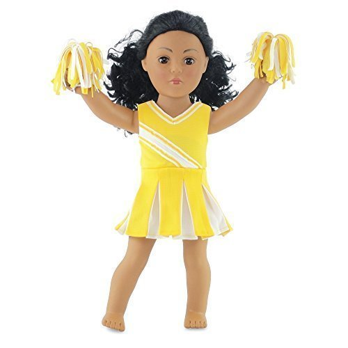 "18 Inch Doll Clothes/clothing Fits American Girl - Yellow Cheerleader Outfit Includes 18"" Dolls Accessories"