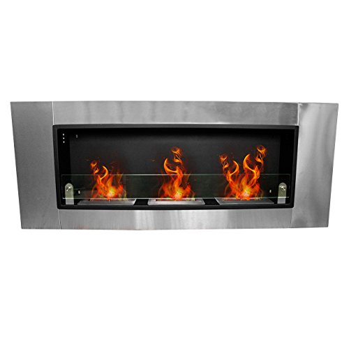 Ridgeyard Stainless Dagger 54 Inch Bio Ethanol Fuel Recessed or Wall Mount Fireplace 4.5L (3x 1.5L) Triple Burner Box Stove Legitimate Ventless Firebox Insert Adjustable