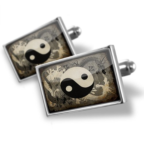 Sterling Silver Cufflinks Yin and yang, ying dragon – Neonblond