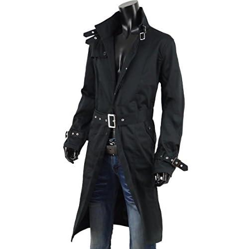 ロングコート メンズ トレンチコート トレンチ ビジネス ロング シングル 大きいサイズあり KR-O137007 黒 3L