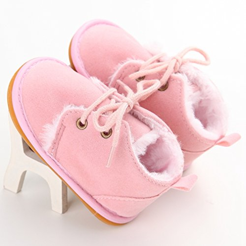 Annnowl Baby Boots Winter Training Warm Shoes 0-18 Months (12-18 Months, Pink)