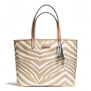 COACH Park Metro Zebra Tote Handbag in Ivory/Tan F 26983 SVB08