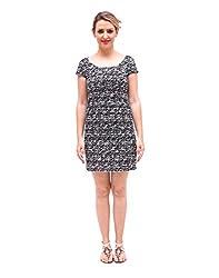 Bohemian Look Printed Black Jute Net night evening wear Round Neck Half Sleeve Short length mini dress 2016 collection high quality women's clothing