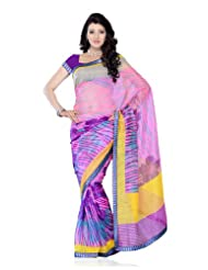 Designer Wear Light Pink Super Net Printed Saree