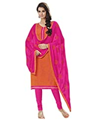 Inddus Women Orange & Pink Colored Cotton Blend Dress Material
