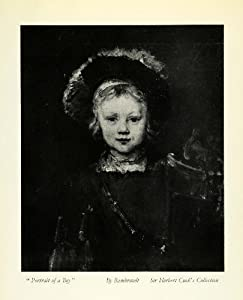 1932 Print Rembrandt Portrait Boy Child Renaissance Costume Hat Dutch Artist - Original Halftone Print
