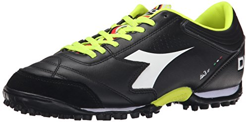 Diadora Men's Italica 3 LT TF Soccer Turf Shoe, Black/White, 10.5 M US
