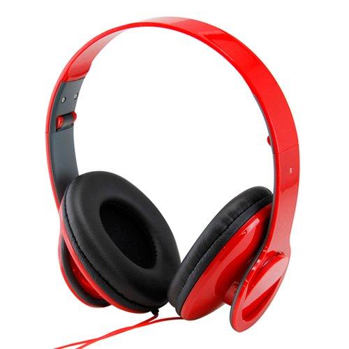 Adjustable Circumaural Red Over-Ear Earphone Stero Headphone 3.5Mm For Ipod Mp3 Mp4 Pc