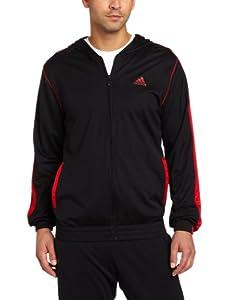 adidas Men's Pro Model Pure Pullover Hoodie, Black/Light Scarlet/White, Medium