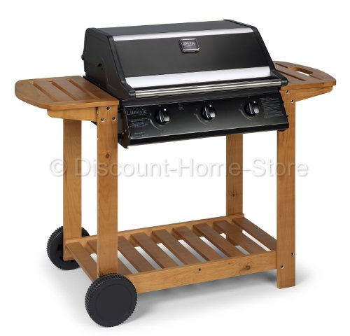 Gas BBQ Hooded Stainless Steel Barbecue Garden Chef 3 Burner Roasting BBQ