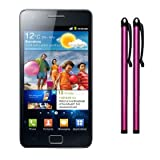 SAMSUNG I9100 GALAXY S2 II CAPACITIVE TOUCHSCREEN STYLUS TWIN PACK HOT PINK PART OF THE QUBITS ACCESSORIES RANGE