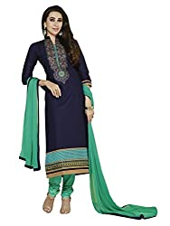 Blue Color Cotton Embroidered Straight Salwar Suit Unstitched Dress Materials