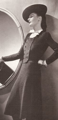 Vintage Knitting PATTERN to make - Vogue Jacket Dress Suit 1930s. NOT a finished item. This is a pattern and/or instructions to make the item only.