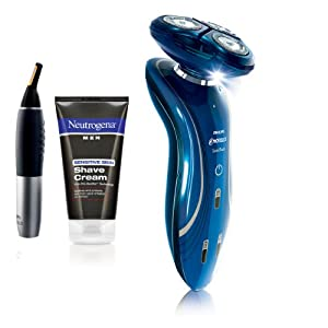 Philips Norelco 1150X/40HP Sensotouch 2D Electric Razor with Bonus Nose and Ear Trimmer and Neutrogena Shave Cream