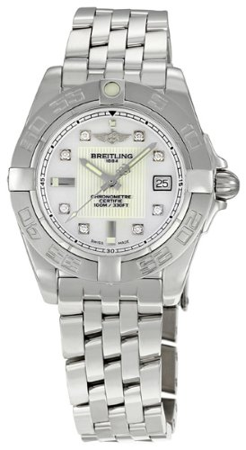 BREITLING GALACTIC 32 A71356L2-A708SS LADIES STEEL BRACELET CHRONOGRAPH WATCH