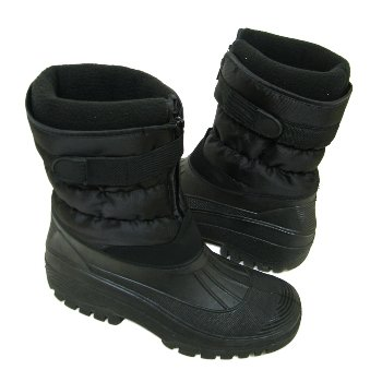 Mens Black Winter Warm Waterproof Comfort Rain Snow Boots