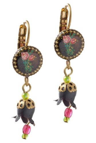 Michal Negrin Earrings with Roses Bouquet Print, Black Dangle Lily, Pink and Green Beads - Hypoallergenic