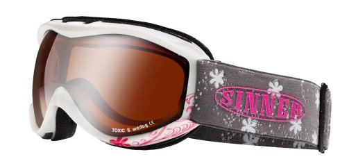 Sinner Toxic S Masque double écran orange miroir Junior Enfant Blanc Rose.  ski ... 149ddfd000fc