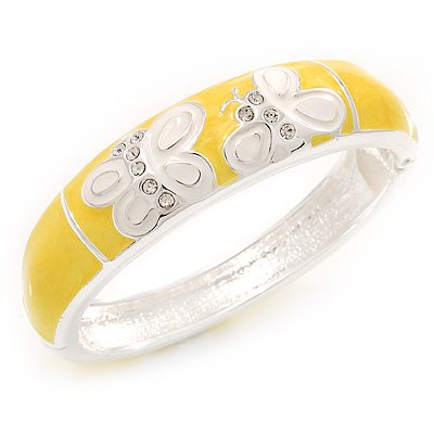 Yellow/White Enamel Hinged Butterfly Bangle In Rhodium Plated Metal - about 18cm Length