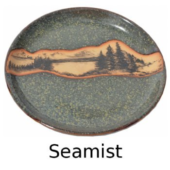 Mountain Scene Salad Plate in Seamist Glaze always